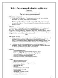 unit 5 performace evaluation and control process performance