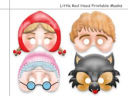 unique little red riding hood tale printable masks wolf