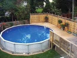 Backyard Pool Fence Ideas Small Inspiring Above Ground Backyard Pool With Narrow Wooden Deck