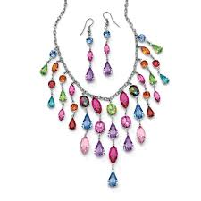 color crystal necklace images Shop multicolor crystal bib necklace and earrings two piece set in jpg