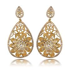 real gold earrings luxury women s hollow out see through flower design big dangle