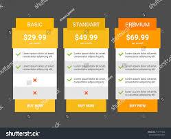 Table Ux Three Tariffs Interface Site Ui Ux Stock Vector 715771984