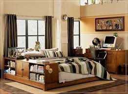 Cream Wood Bookcase Bedroom Impressive Stripes Comforter In Platform Bed And
