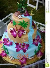 Tropical Themed Cake - fun tropical beach wedding cake stock photo image 41189819