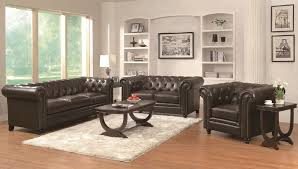 leather livingroom set button tufted classic leather sofa