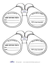 printable army binocular invitations