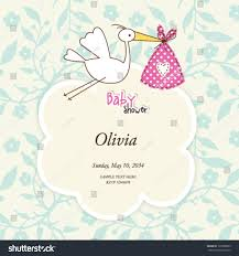 Baby Shower Card Invitations Baby Shower Card Cute Invitation Stork Stock Vector 125868899