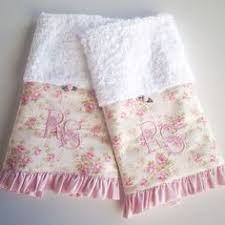 Shabby Chic Bath Towels by Baby Bunny Graphic Embellished Handtowel Vintage Hanky Pink Roses