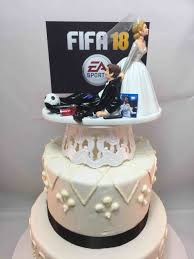 gamer cake topper topper runaway groom and fifa gamer gaming junkie soccer
