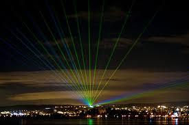 Outdoor Laser Lights Laser Beams Lake Constance Germany December 2012