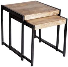 Industrial Style Furniture by Buy Indian Hub Cosmo Industrial Style Nest Of 2 Tables Online Cfs Uk