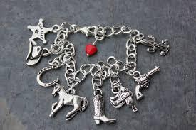 themed charm bracelet charm bracelet western themed charms chunky silver