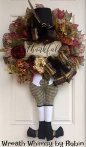 thanksgiving pilgrim burlap mesh floral wreath with thankful sign
