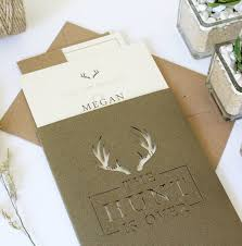 wedding invitation pockets the hunt is stag pocket wedding invitation suite by vanilla