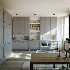 Grey Kitchen Cabinets by Scandinavian Kitchen Ideas With Chic Marble Backsplash And Grey