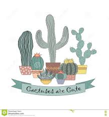 vector card design with cactuses in pots cute succulents stock