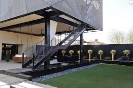contemporary house with outdoor wrought iron stair attractive