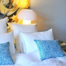 linge lit lin housse de couette lin lavé blanc bourdon turquoise maison d u0027été