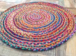 fair trade 120cm large round braided rag rug cotton jute multi