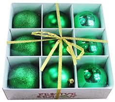 9pk 80mm shatterproof all green tree ornaments