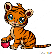 how to draw baby tiger cute anime animals