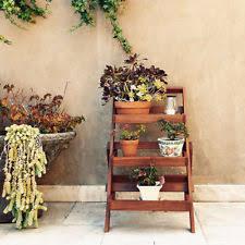 wooden plant stand garden planter outdoor etagere gardening
