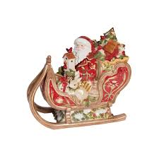 damask holiday santa in sleigh cookie jar fitz and floyd