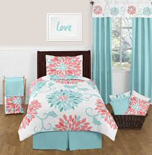 turquoise and coral emma 4pc twin girls teen bedding set by sweet