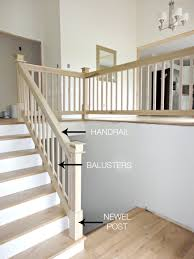 What Is A Banister On Stairs Entryway With Rustic Wood Floors L Shaped Stairway Shiplap Wall