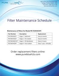 pure blue h2o red light filter maintenance schedule pure blue h2o
