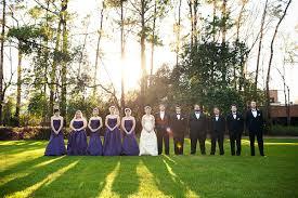 Outside Weddings Outside Wedding Party Shot Dark Blue Bridesmaid Dresses Back