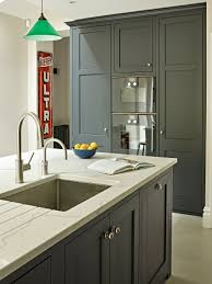 dark grey black shaker kitchen cabinets and island with grey white