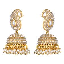 punjabi jhumka earrings buy traditional indian necklace set golden pearl polki