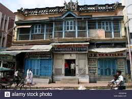 old colonial house street scene madurai tamil nadu south