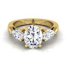 gold stone rings images Oval diamond 18k yellow gold three stone engagement ring pear side jpg