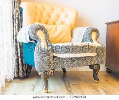 Couch In Bedroom Vintage Sofa Wallpaper Wall Retrostyle Illustration Stock