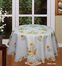 Round Kitchen Table Cloth by Amazon Com Creative Linens Sunflower Tablecloth Embroidered