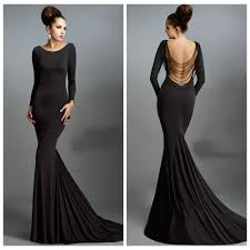 scoop long sleeve beading backless black evening dresses long
