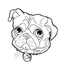 black pug dog face tattoo stencil by tha biatch