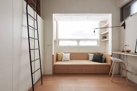 22 sqm efficiency apartment living plan layout design idea home alcove couch nook reading small studio apartment furniture