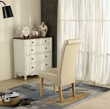 Faux Leather Dinning Chairs New Cream Faux Leather Dining Chairs Roll Top Scroll High Back