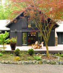 Pole Barn House by Black Pole Barn With Wrap Around Deck Lake House Pinterest