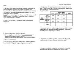 two way frequency table worksheet answers two way tables worksheet teaching resources teachers pay teachers