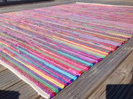 Round Colourful Rugs by Plain Bright Multi Coloured Rag Rug Various Sizes