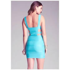 bebe turquoise dress on tradesy
