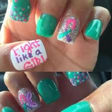 thyroid cancer nails relay for support cancer ribbon nails by