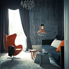Orange Pillows For Sofa by Simple Living Room With Gray Wall Paint Orange Chair Dark Velvet