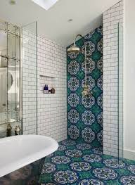 bathroom with patterned and subway white shower tiles ways to