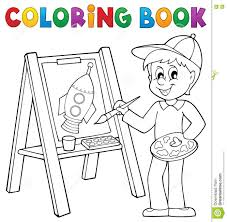 coloring book boy painting canvas stock vector image 74228445
