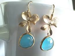 lucky flower with blue gold wedding earrings drop dangle
